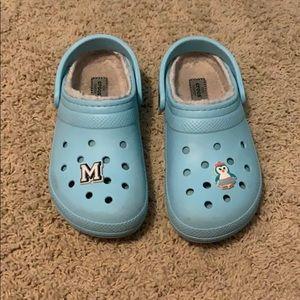 Light blue fuzzy crocs